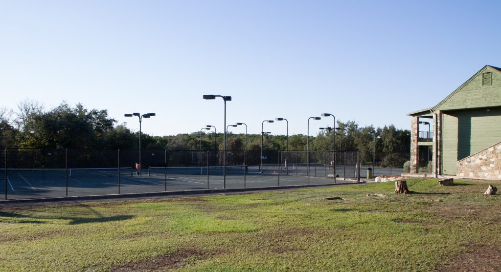 Clay courts at the John Newcombe Tennis Ranch